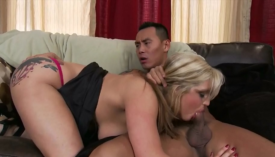 Busty Blonde Dayna Vandetta suck on big asian cock